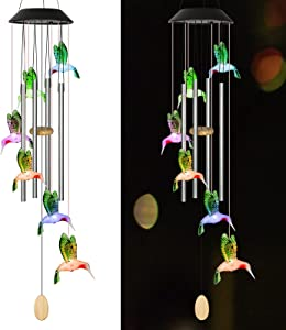 ZKIUTI Solar Wind Chimes Outside LED Changing Colors Hummingbird Gifts Terrace Garden Decoration