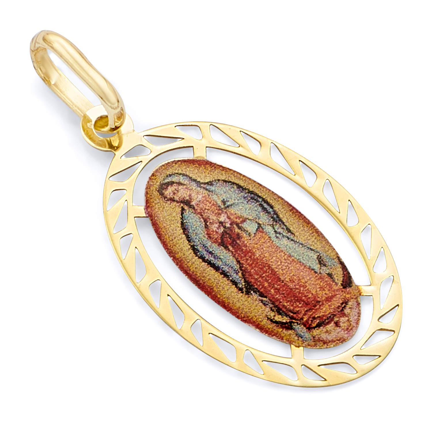 Wellingsale 14K Yellow Gold Polished Ornate Religious Our Lady Of Guadalupe Enamel Charm Pendant