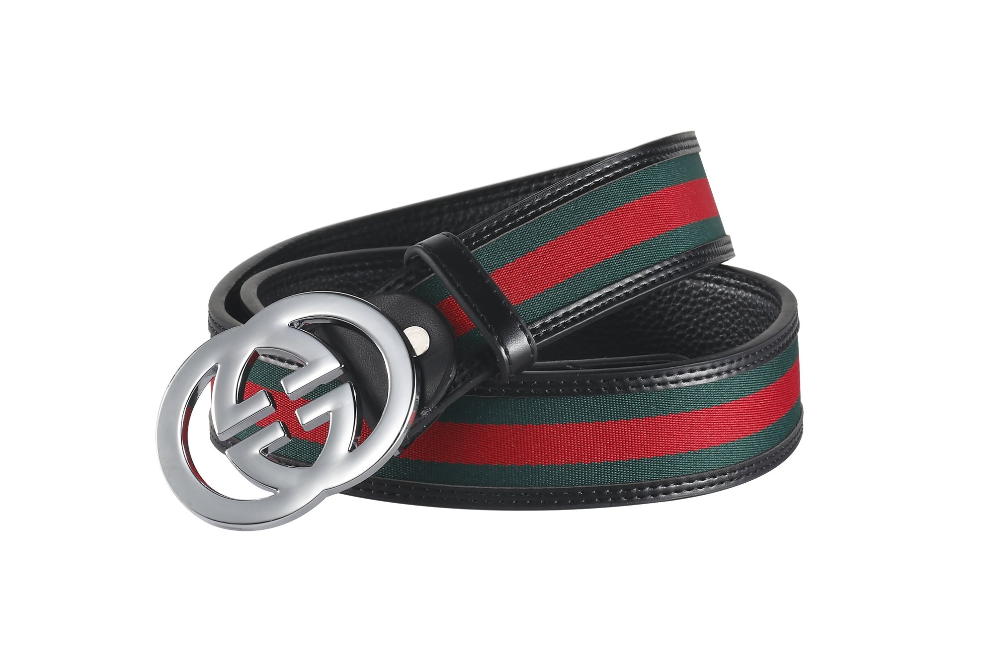 Fashion G-Style unisex Business Casual Belt [3.8CM] (black with silver buckle, 105CM[Waist<30''])