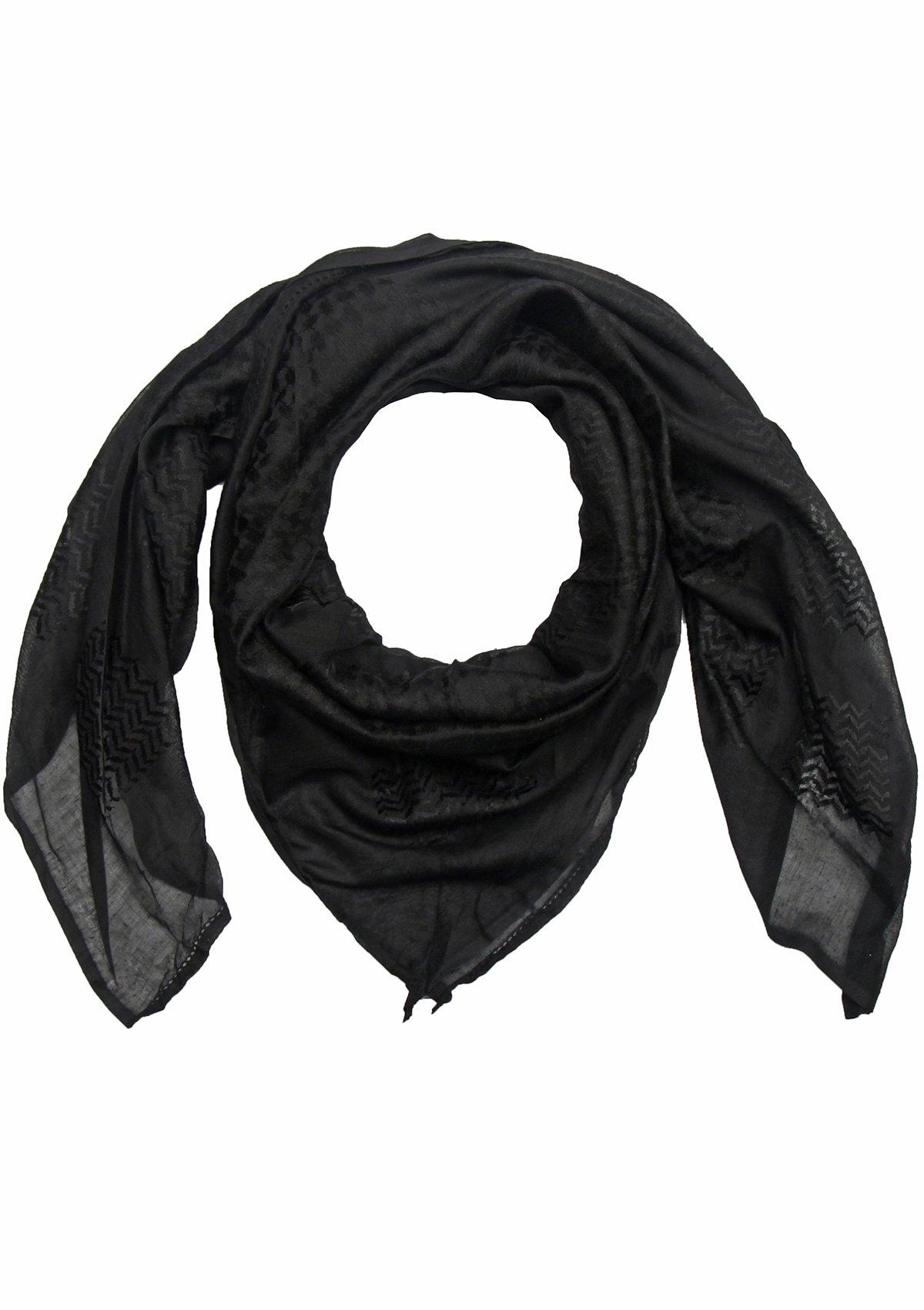 Merewill Premium Original Arabic Scarf 100% Cotton Shemagh Keffiyeh 49''x49'' Arab Summer Scarf All Black