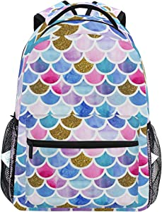 MOYYO Colorful Mermaid Scales School Backpack College Book Bag Casual Lightweight Travel Camping Laptop Daypack for Teens Girl Women with Bottle Side Pockets