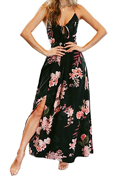 2d210e8387 Women's Floral Printed Sexy Backless Criss Cross Spaghetti Strap Beach  Party Maxi Dress Black-S