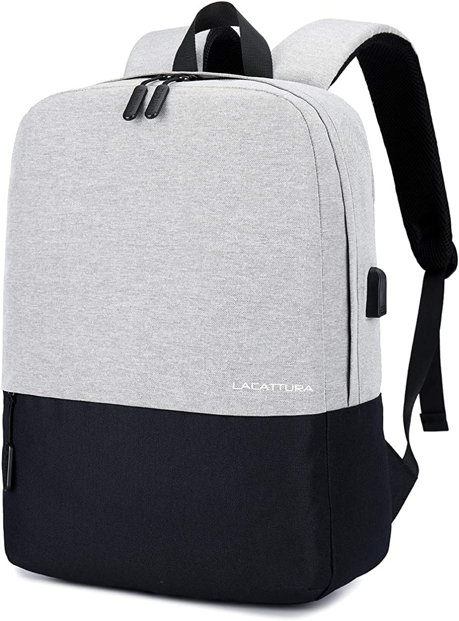 LACATTURA Unisex Simple School Backpack, Casual Stylish Laptop Bookbag for Teen