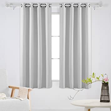 Amazoncom Deconovo Grommet Blackout Curtains Thermal Insulated - White blackout curtains