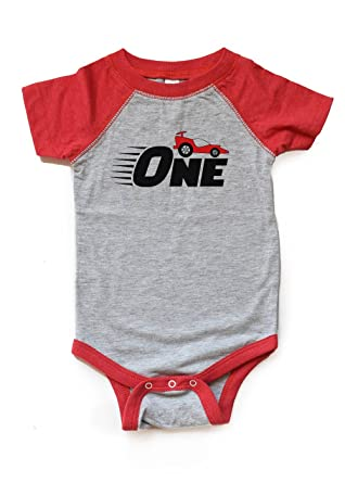 One Race Car Birthday Bodysuit First Bday Shirt 1 Boy Girl Racecar Raglan Baby 1st