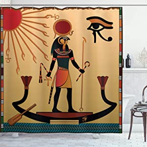 "Ambesonne Egyptian Print Shower Curtain, Sun Old Egyptian Timeless Grace Tradition Illustration, Cloth Fabric Bathroom Decor Set with Hooks, 70"" Long, Multicolor"