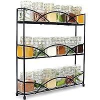 3 Tier Herb & Spice Rack Organiser | Free Standing Non-Slip Modern Design | Universal Design | Kitchen & Pantry Storage Solution Black | M&W