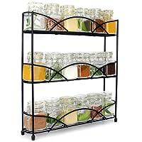 3 Tier Herb & Spice Rack Organiser   Free Standing Non-Slip Modern Design   Universal Design   Kitchen & Pantry Storage Solution Black   M&W