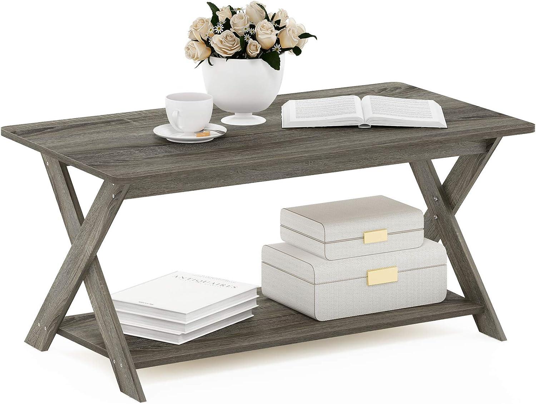 Furinno Modern Simplistic Criss-Crossed Coffee Table French Oak Grey
