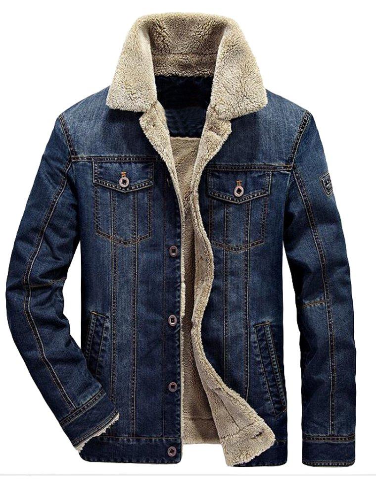 Vogstyle Men's Winter Distressed Denim Trucker Jacket Slim Fit Casual Pockets Button Down Jacket style 1 dark blue L