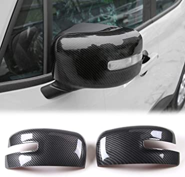 Carbon Fiber Texture JeCar Side Mirror Covers ABS Rearview Mirrors Trim for 2016-2019 Jeep Renegade