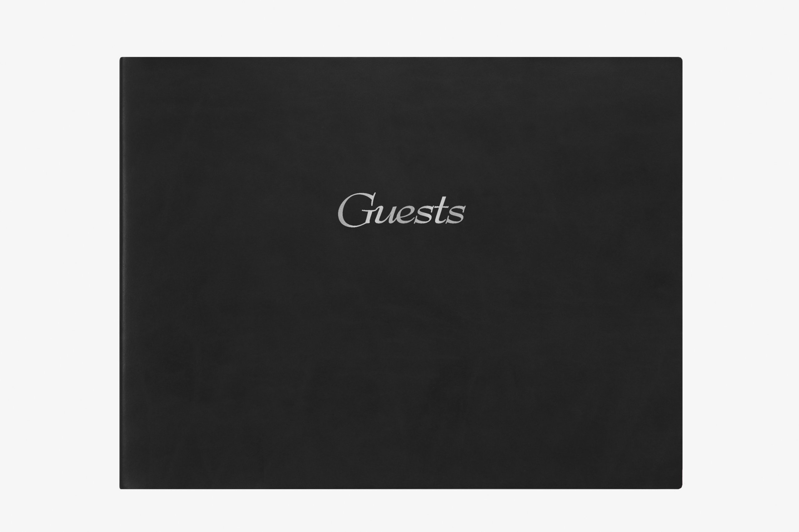 CR Gibson Deluxe Guest Book, 11-Inch by 8-Inch, Black Leather