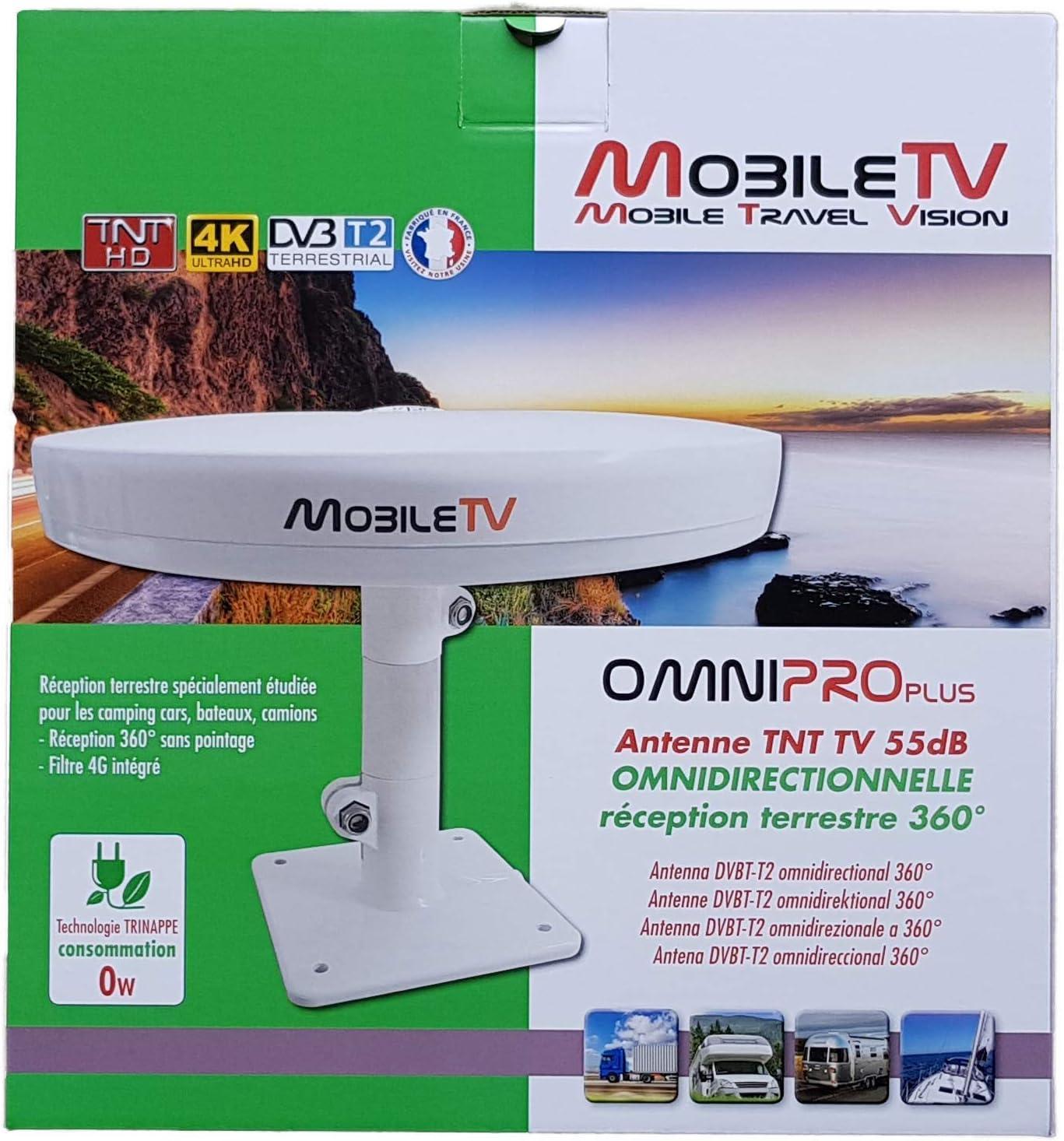 Antena TV Omni Lite TNT HD 4 K UHD, 45 Db, con Amplificador Intelligent 12/24 V Autocaravana Camión