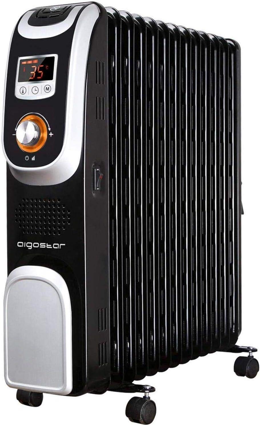Aigostar Oil Monster 33JHH – Radiador de aceite portátil de 13 elementos, pantalla de control LED, mando a distancia, 2500 Watios de potencia. Diseño exclusivo.
