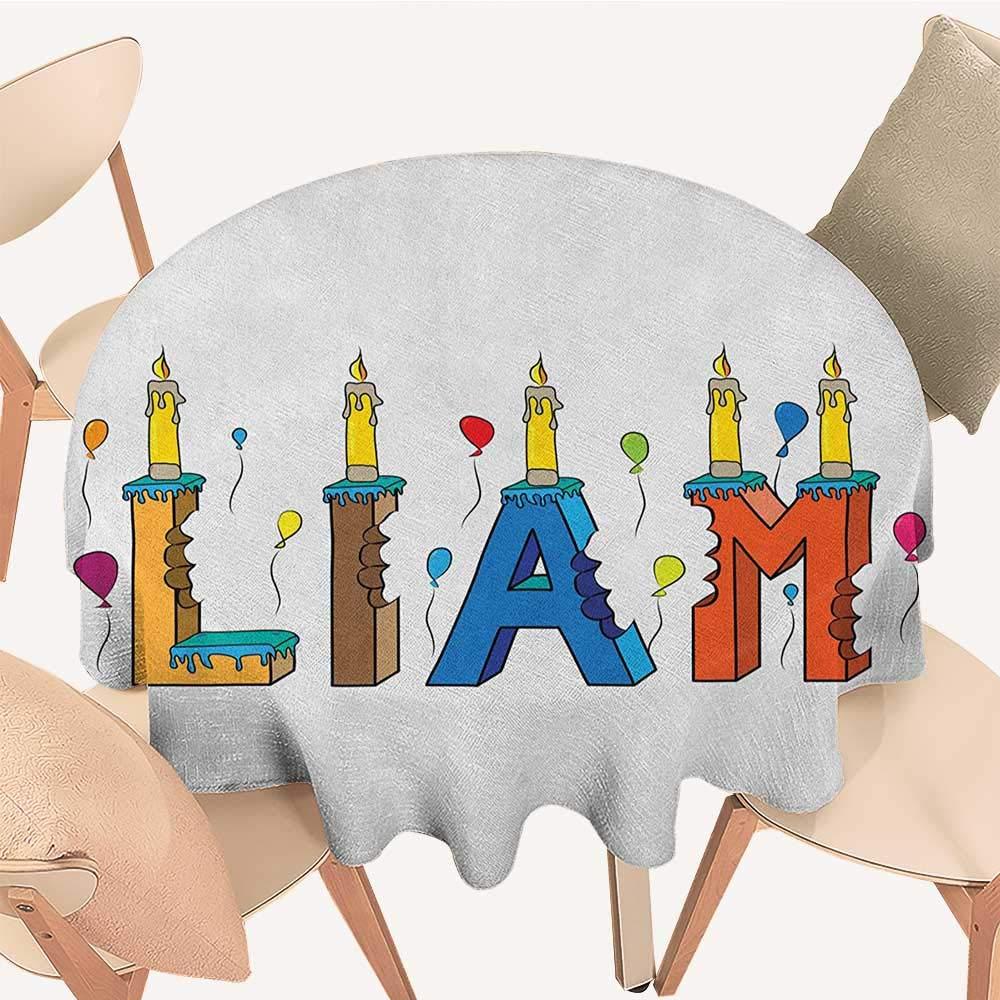longbuyer Liam 円形テーブルカバー 英語のファーストネーム カラフルな文字スタイル ケーキデザイン バイトマークとキャンドル マルチカラー D 70