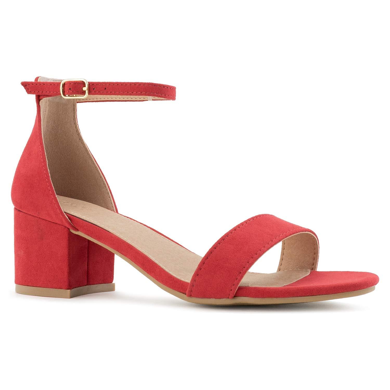 Red Nubuck-1 RF ROOM OF FASHION Women's Trendy Open Toe Ankle Strap Kitten Heel Sandal - Adorable Low Block Chunky Heel