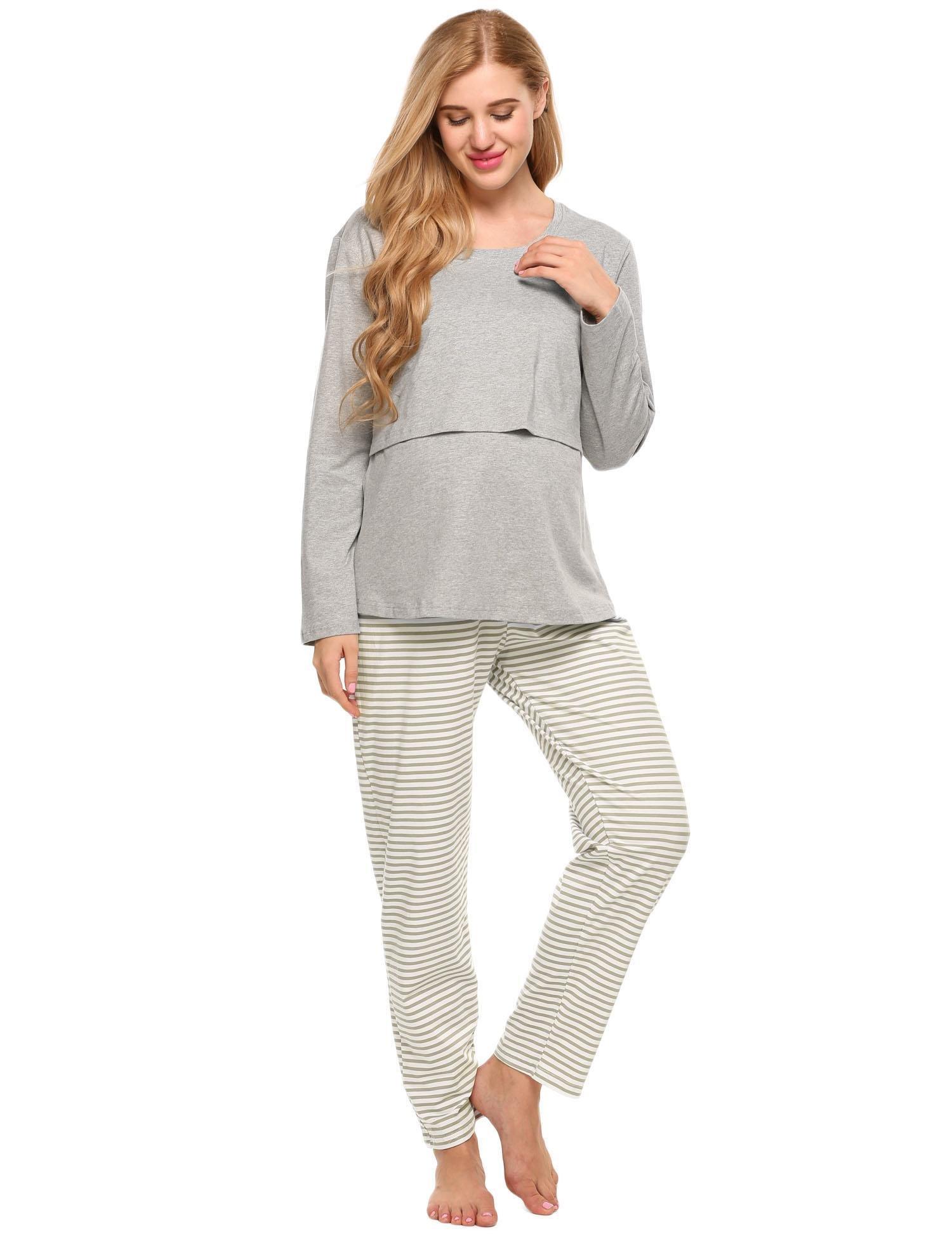 Ekouaer Women's Maternity Nursing Cotton Pajama Sets Breastfeeding Sleepwear, Style 2-grey, Medium-US L(14,16)