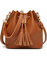 Brown Crossbody Bags for Women Bucket Bag Small Purse Drawstring with Tassel