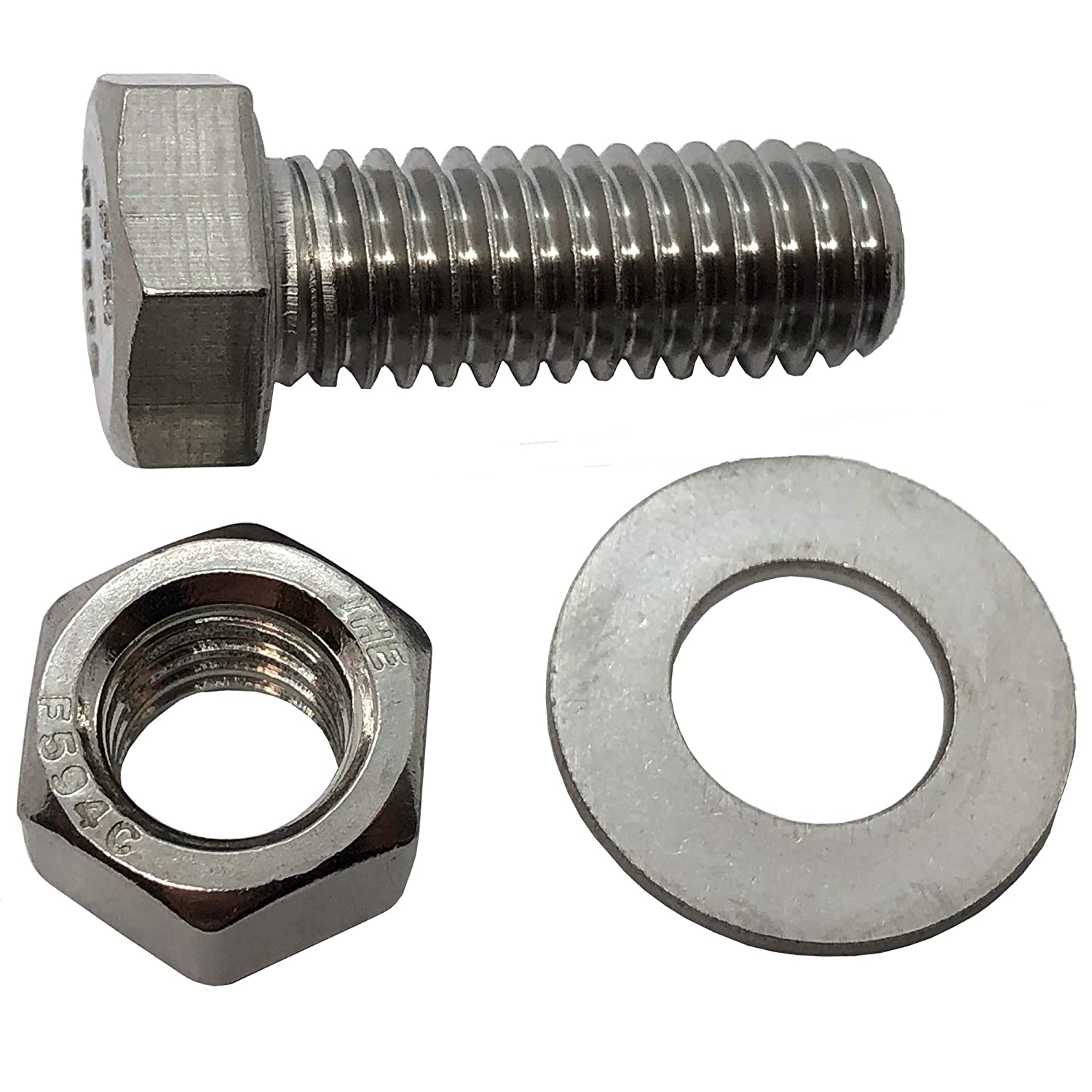 10 3//8-16 x 2 General Purpose Bolts + 18-8 HEX HEAD Bolt 10 304-STAINLESS STEEL BOLTS 304 Grade Washers Nuts + NUTS /& WASHERS 10