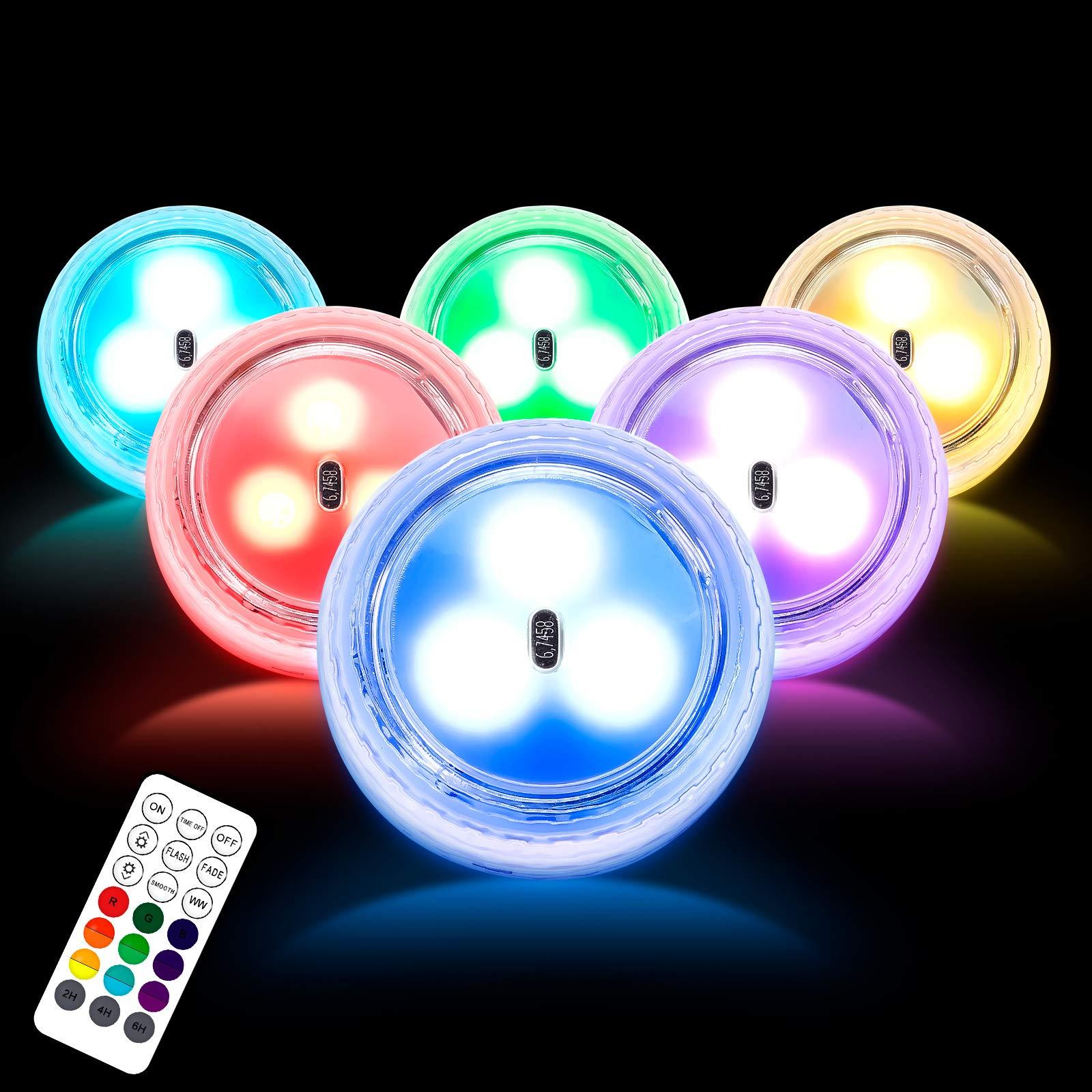 LOFTEK Mini Submersible LED Lights 6 PCS Battery Operated LED Color Changing
