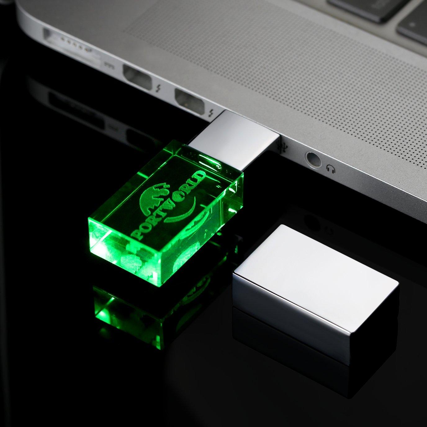 32GB USB Stick 2.0 Speicherstick USB-Flash-Laufwerk greller Antrieb mit LED-Beleuchtung, imprägniern Kristall Transparente USB-Sticks (Grün)