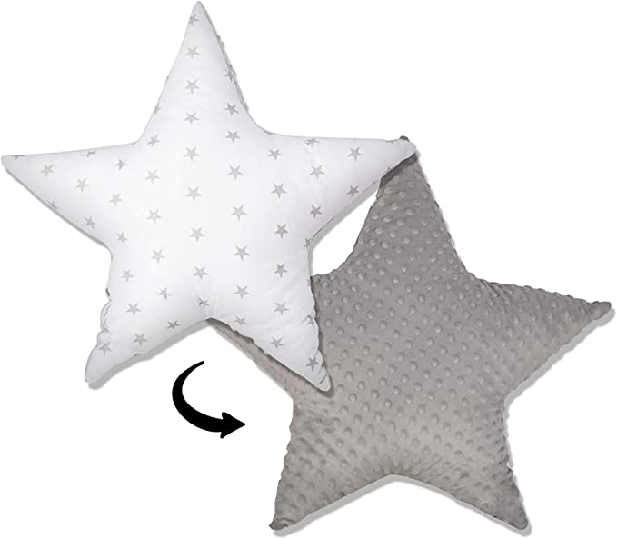 coussins fille gar/çon chambre enfants en Peluche SET decoration sombre gris//blanc /ø 30cm et 2 x /ø 60cm coussin etoile enfant