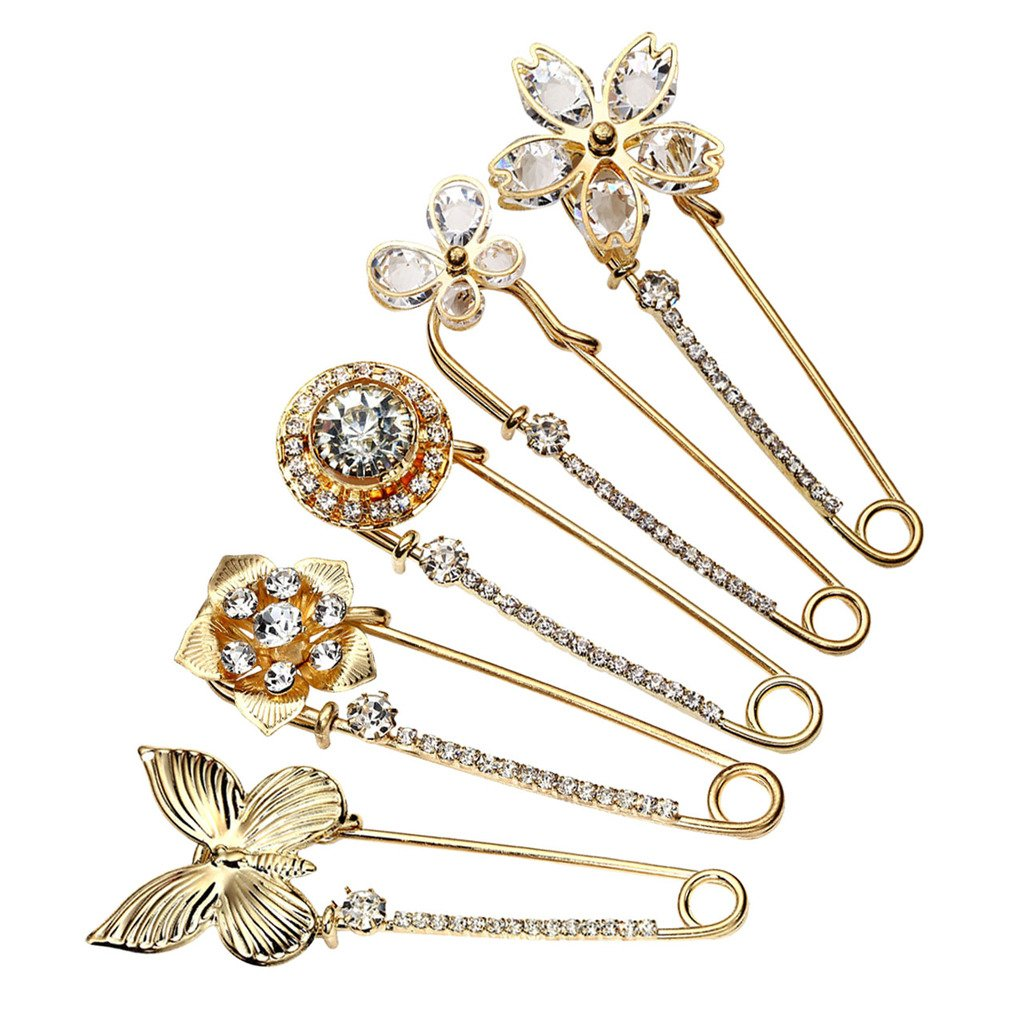Top Plaza Mothers Day Gift Pack of 5 Women Fashion Rhinstone Crystal Accented Golden Safety Pin Jewelry Brooch Breastpin - Catch Scarf,Lapel or Collar(#2)