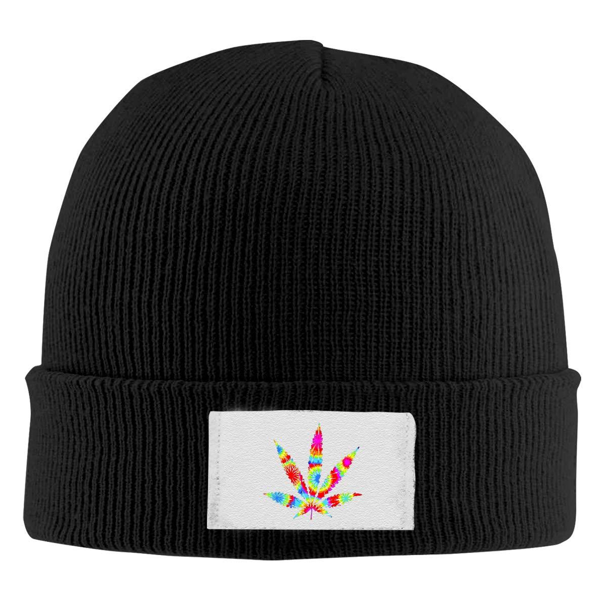 Unisex Stylish Slouch Beanie Hats Black Tie Dye Weed Marijuana Top Level Beanie Men Women