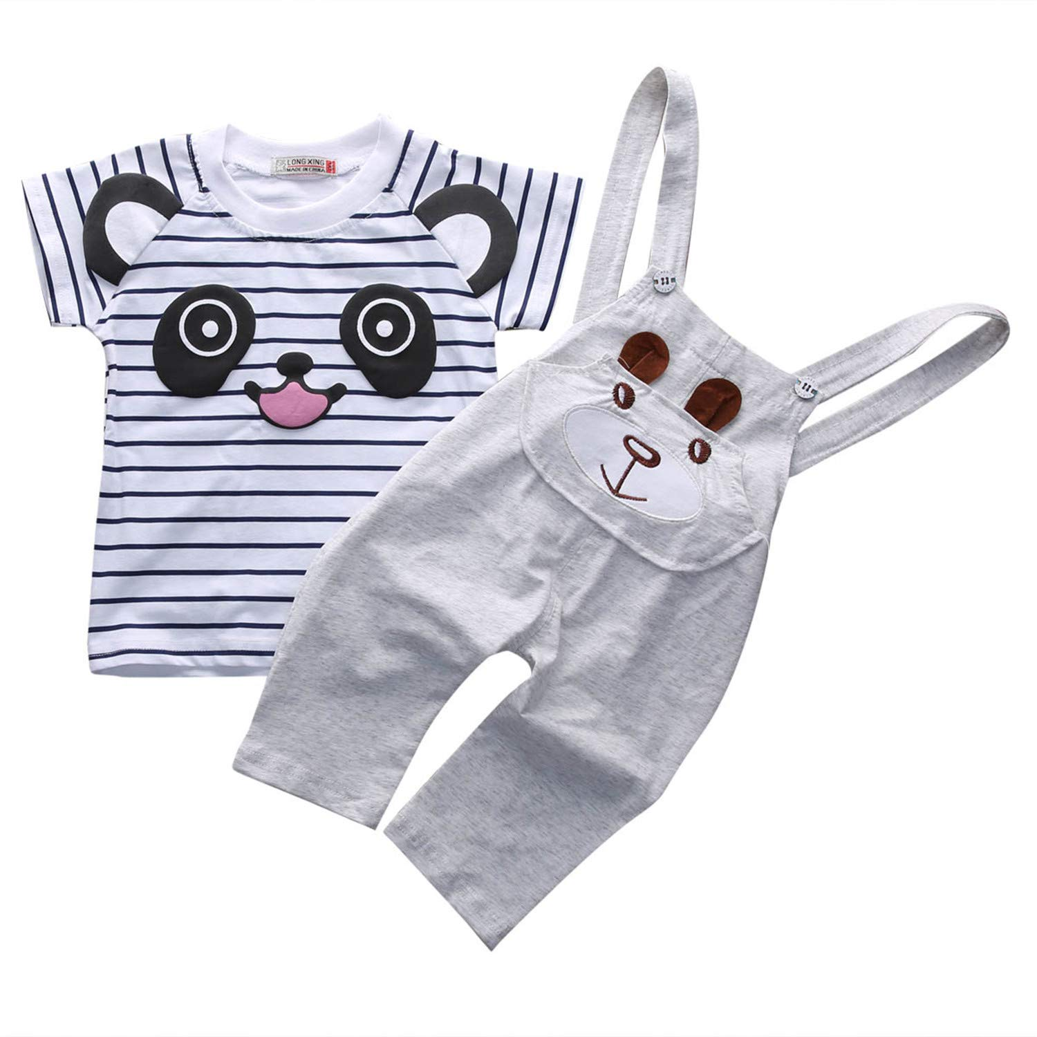 Fashion New 4colors Baby Boy Girls T-Shirt Tops+Pants Overalls Outfits Newborn Kids Cute Clothes Set