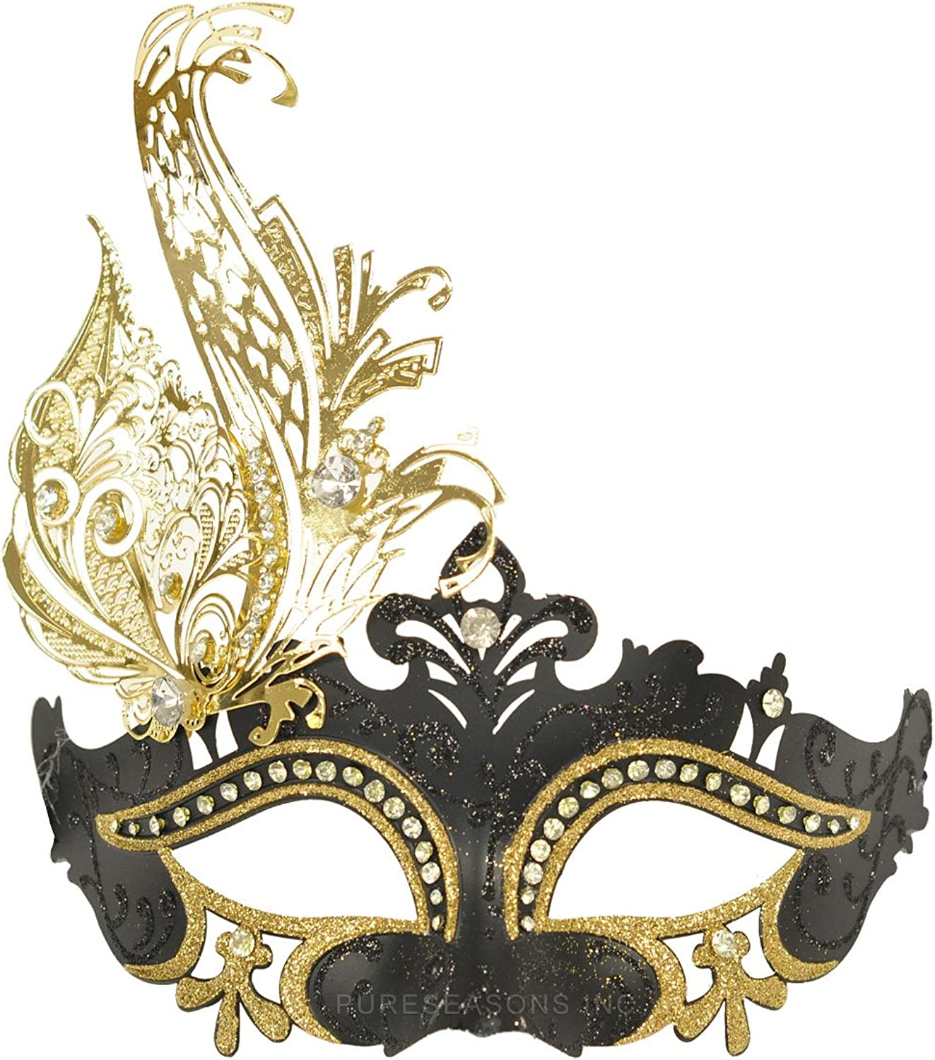 Lovely Black and Gold Half Face Venetian Mask Masquerade