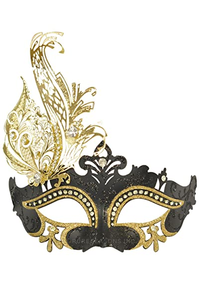 d54c13dee5b6 Amazon.com: Womens Black and Gold Venetian Masquerade Mask with Gold Laser  Cut Metal: Clothing