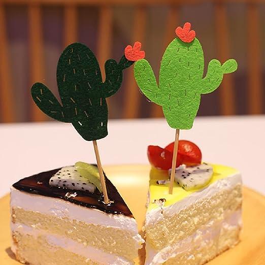 TYY-guang 24 PCS Cupcake Toppers g/âteau Assorties de Hauts de Forme pour g/âteau D/écorations Tropical Cacti Th/ème Fournitures de f/ête danniversaire d/ét/é