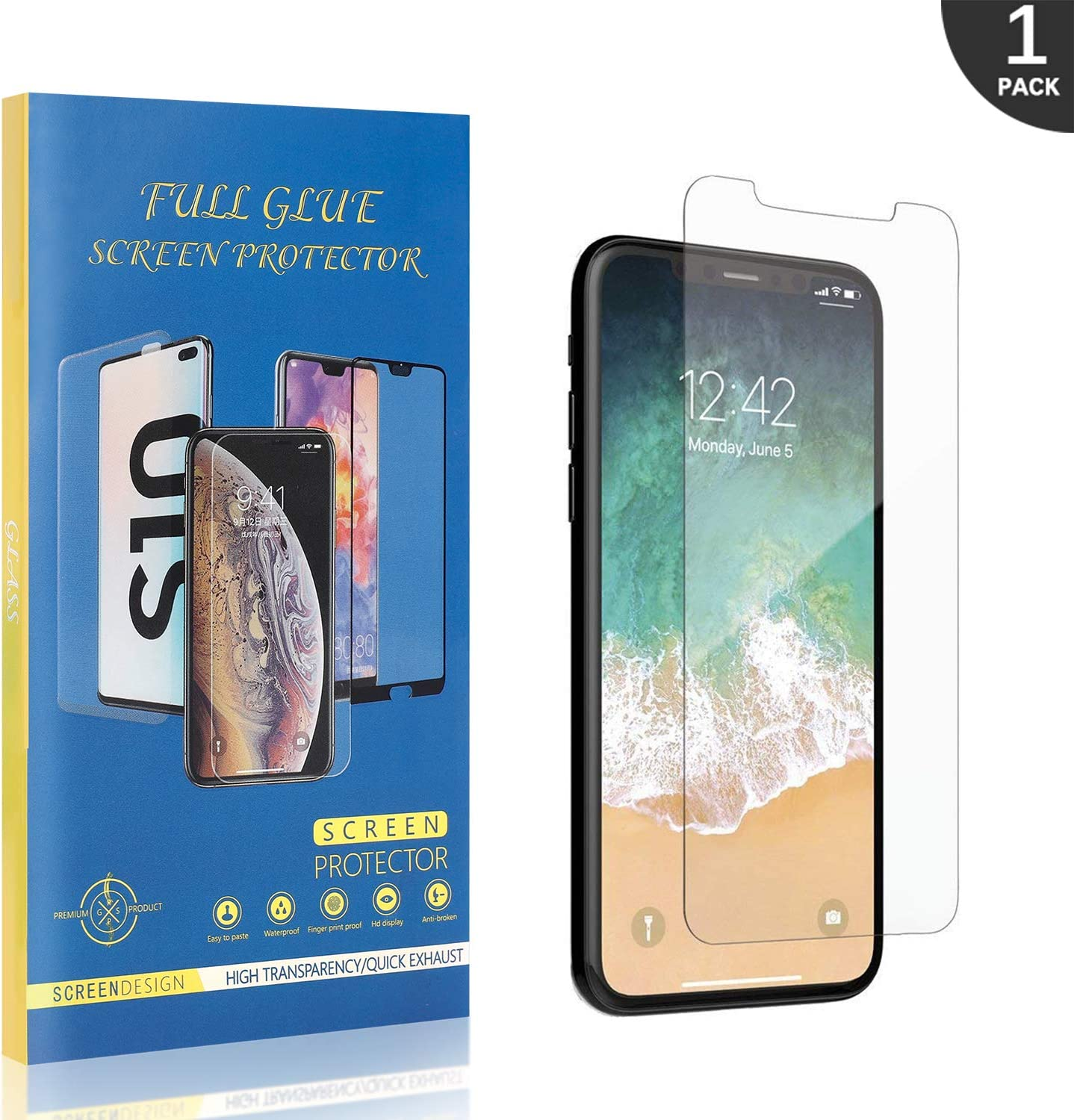 GIMTON Tempered Glass Screen Protector for iPhone X//iPhone XS 9H Hardness Screen Protector Film Fingerprint Proof Easy Installation Anti Scratch 2 Pack