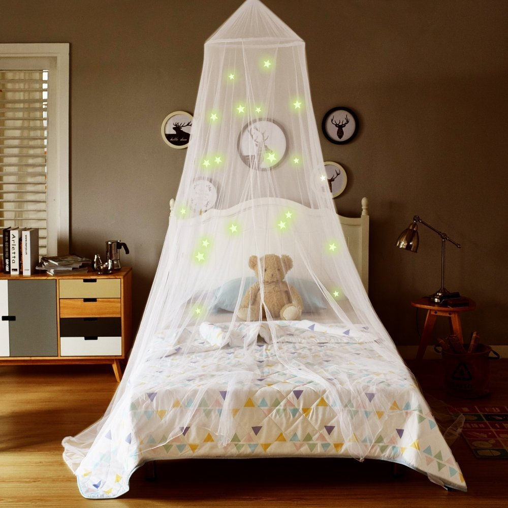 love A BRAND Glowing Mosquito Net Dome Bed Canopy with Stars,for Kids Playing Reading Bedroom Decor