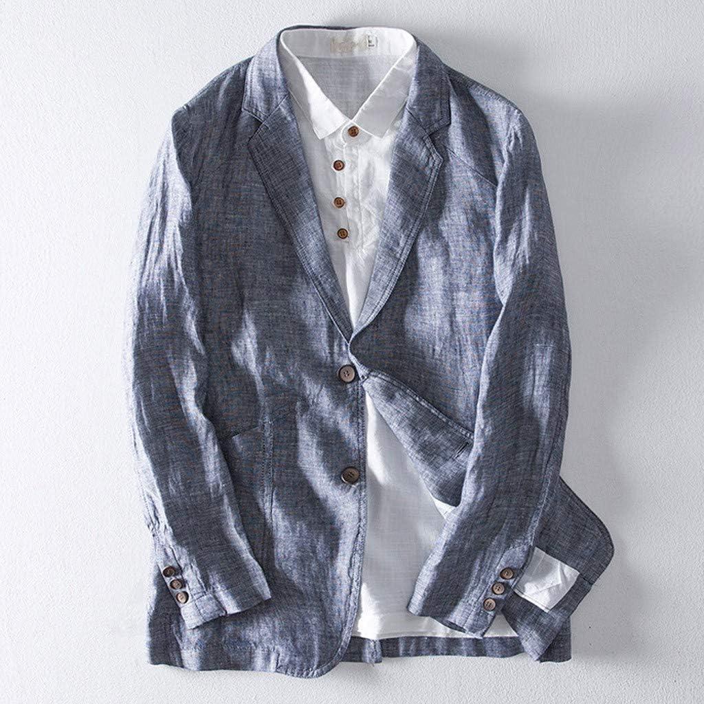 Mens Linen Blend Long Sleeve Suits Blazer Slim Fit Pocket Solid Jacket Outwear