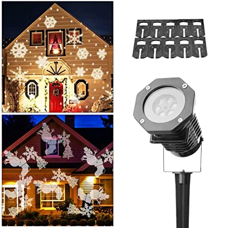 Christmas Rotating Projection Lights,WowTop Waterproof Led Light Show Snowflake Spotlight,10PCS Pattern Lens for Party,Wall,Landscape,Garden Decoration