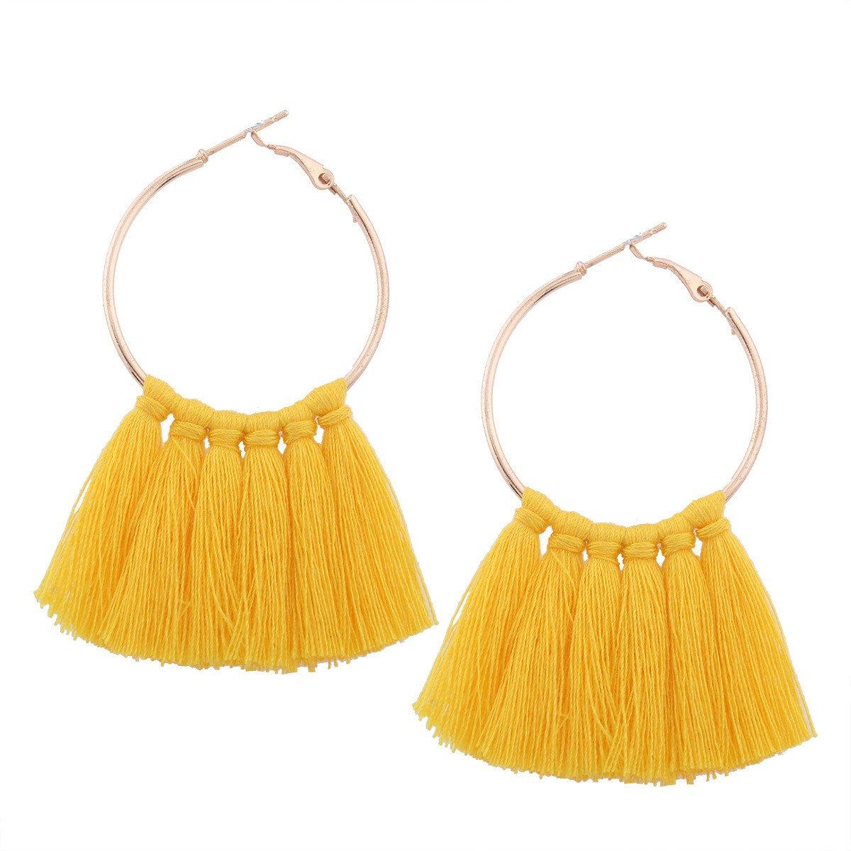 Big Hoop Tassel Dangle Earrings Bohemia Vintage Large Round Circle Stud Earrings for Women Girls