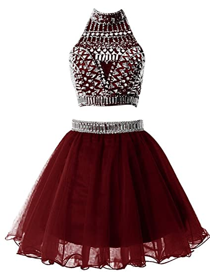 Sarahbridal Two Pieces Halter Homecoming Rhinestones Short Formal Prom Dress LX282 Burgundy UK12