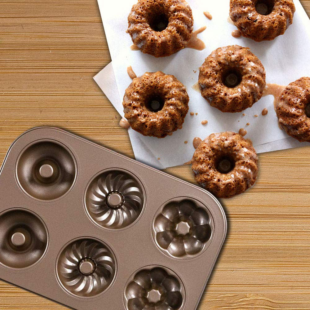Cruller Baking Pan Donut Pan Makes 6 Donuts,3 Pattern and Non-Stick Donut Mold Safe Baking Tray Maker Pan for Cake Biscuit Bagels Donut Cake Mold 6-Cups Fancy by Indipartex (Image #2)