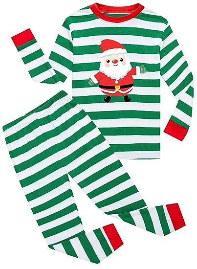3c2c3feb6 Amazon.com  TWKIOUE Kids Girls Christmas Stripe Long Sleeve Pajamas ...