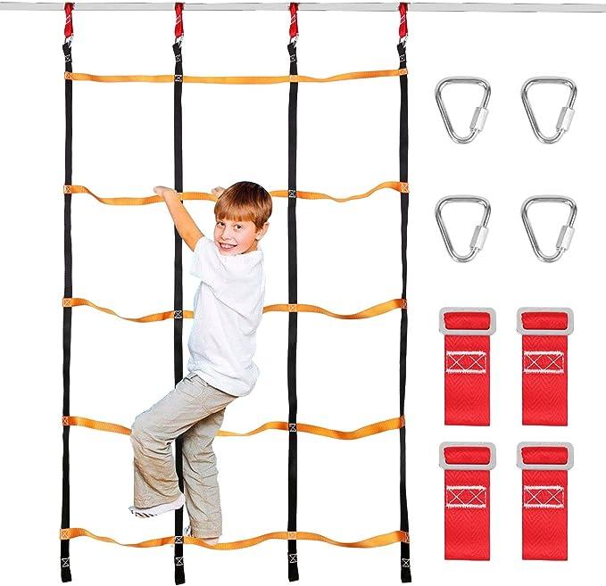 Odoland Red de Escalada para Niños 3.9 x 6.6 pies / 120 x 200 cm, Escalera de Cuerda para Niños al Aire Libre con 4 Hebillas Cuadradas y 4 Anillos de ...