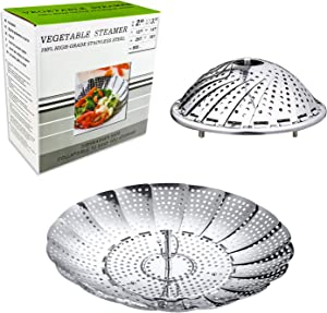 Steamer Basket Folding Steamer Stainless Steel Vegetable Food Fruit with Safety Tool,Adjustable to Fit Various Size Pot(5.5
