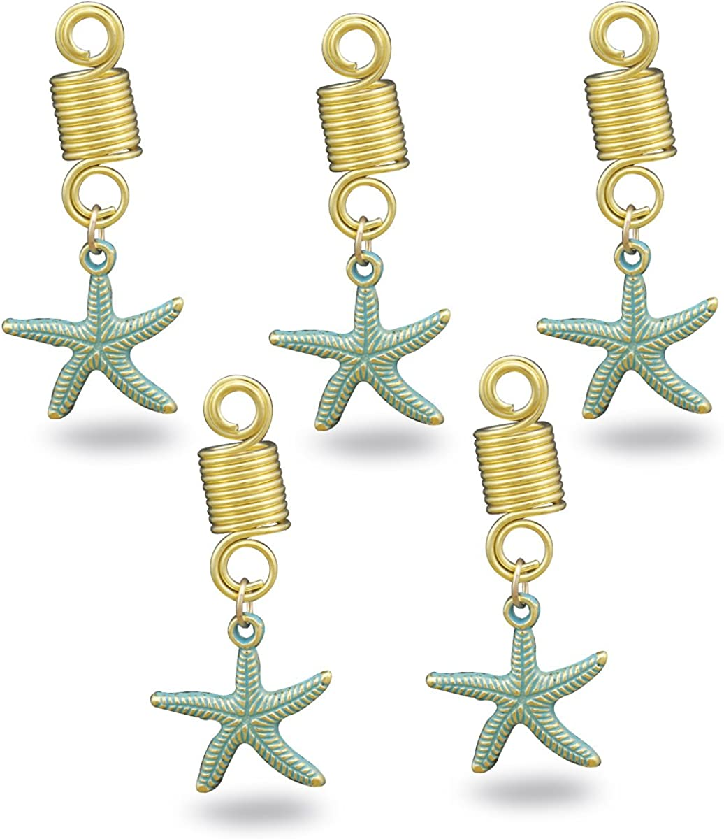 RechicGu Pack 5 Vikingos Estrella de mar Playa Pesca rastas Barba Trenzado Pelo Trenzado Vestido Clip Pin: Amazon.es: Joyería