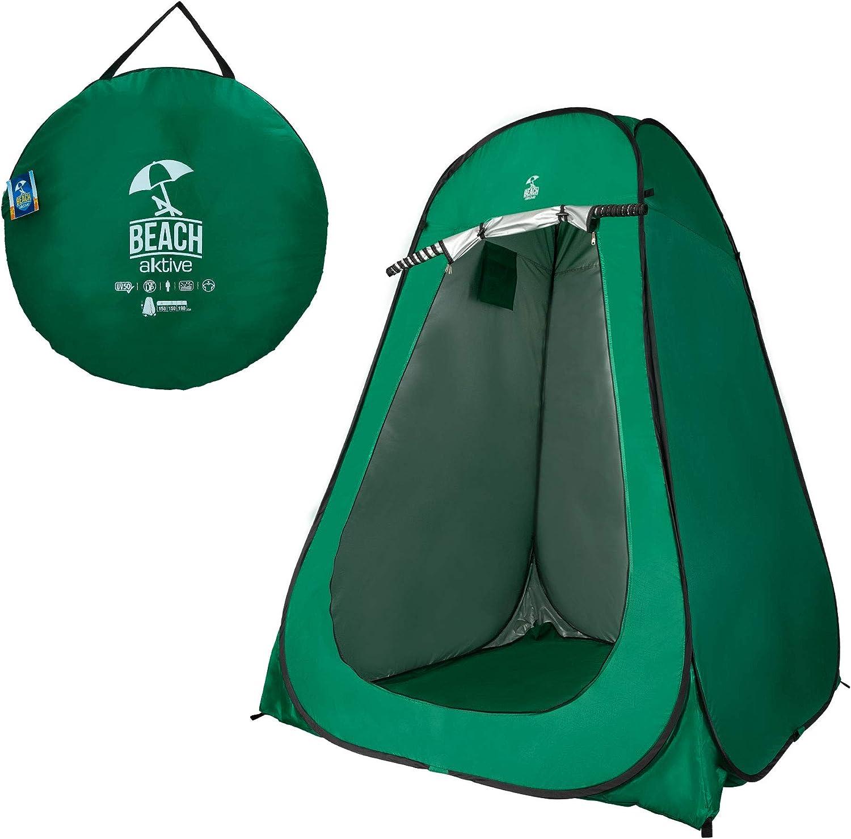 Aktive 62182 Tienda Ducha Cambiador para Camping con Suelo Verde Unisex-Adult 150x150x190 cm
