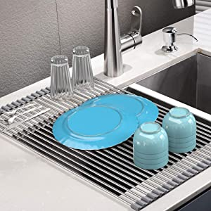 Roll Up Dish Drying Rack, Stainless Steel Over Sink Dish Drying Rack, Multi-Use Foldable Dishes Holder Sink Drain for Kitchen Sink Countertop, 17''L×15''W, Grey
