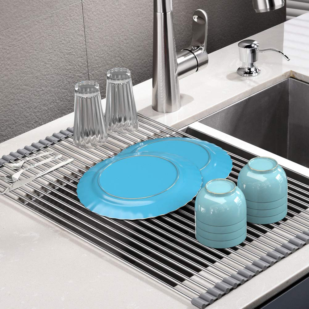 Roll Up Dish Drying Rack, Stainless Steel Over Sink Dish Drying Rack, Multi-Use Foldable Dishes Holder Sink Drain for Kitchen Sink Countertop, 17.3''L×15''W, Gray