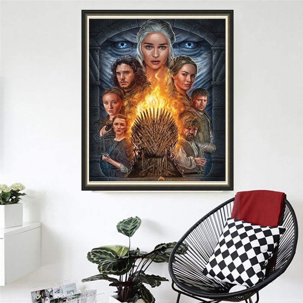 DIY 5D Diamond Painting Game of Thrones Series by Number Kits, Painting Cross Stitch Full Drill Crystal Rhinestone Embroidery Pictures Arts Craft for Home Wall Decor Gift (Character, 30x40 cm)