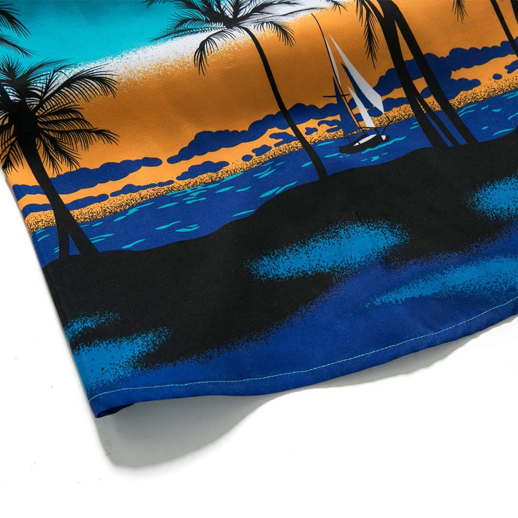 NUWFOR Men Hawaiian Print Short T-Shirt Sports Beach Quick Dry Blouse Top Blouse(Blue,XXL US Chest:48.8'' by NUWFOR (Image #4)