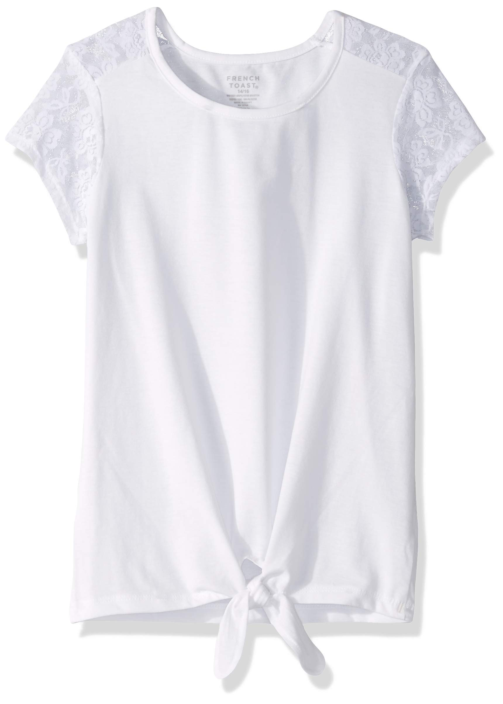 French Toast Girls Short Sleeve Tie Front Top Shirt