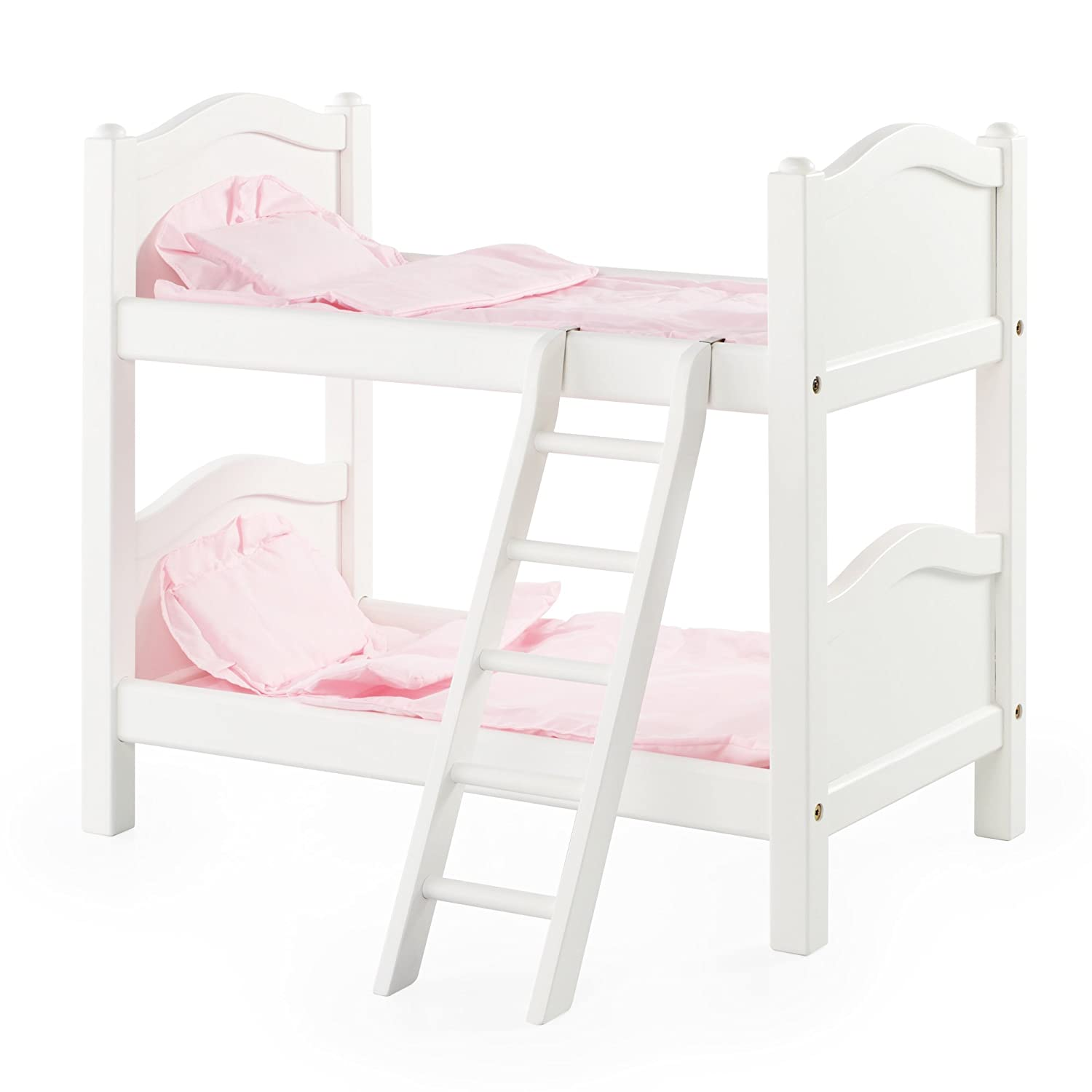 Amazon.com : Guidecraft White Wooden Doll Bunk Bed - Fits 18 ...